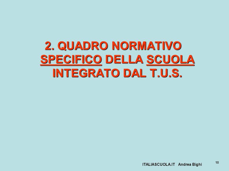 2. QUADRO NORMATIVO SPECIFICO DELLA SCUOLA INTEGRATO DAL T.U.S.