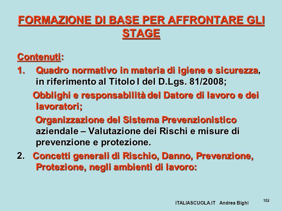 FORMAZIONE DI BASE PER AFFRONTARE GLI STAGE