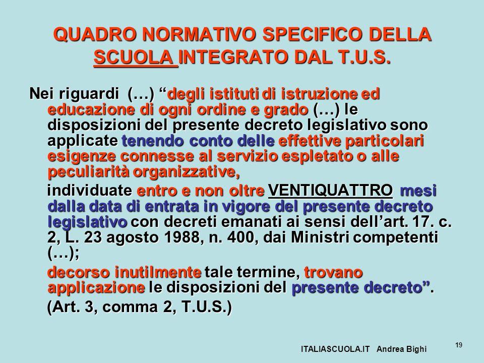QUADRO NORMATIVO SPECIFICO DELLA SCUOLA INTEGRATO DAL T.U.S.