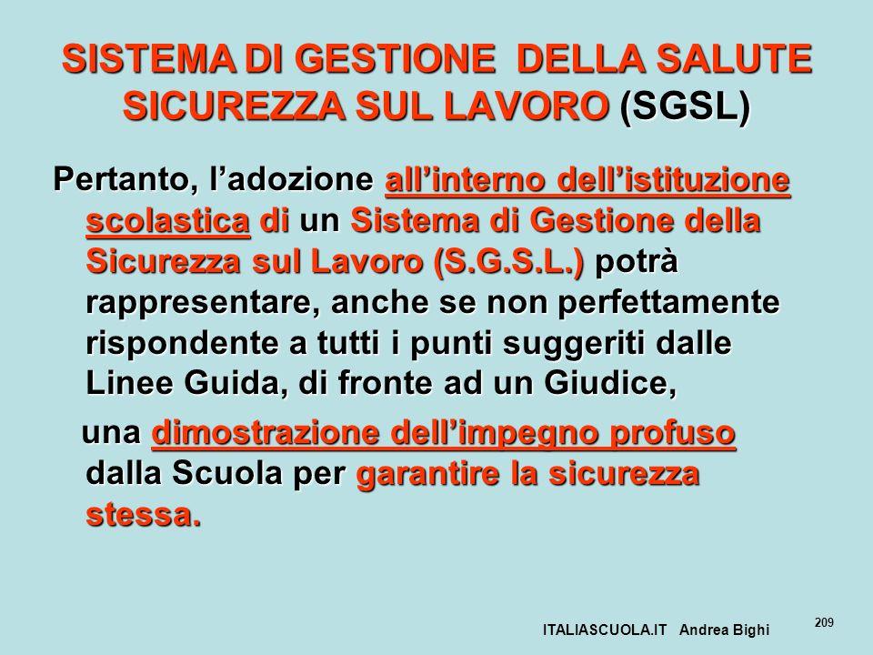 SISTEMA DI GESTIONE DELLA SALUTE SICUREZZA SUL LAVORO (SGSL)