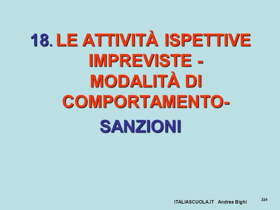18. LE ATTIVITÀ ISPETTIVE IMPREVISTE - MODALITÀ DI COMPORTAMENTO-