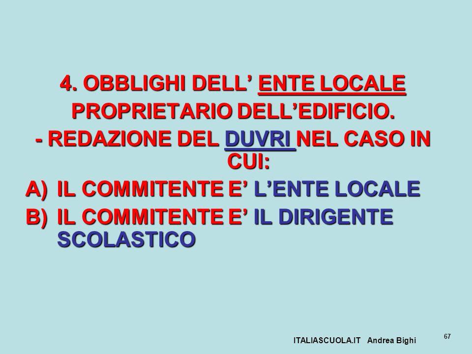 4. OBBLIGHI DELL' ENTE LOCALE PROPRIETARIO DELL'EDIFICIO.