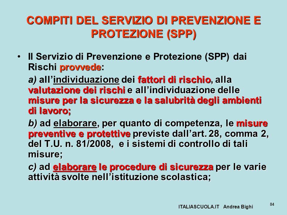 COMPITI DEL SERVIZIO DI PREVENZIONE E PROTEZIONE (SPP)
