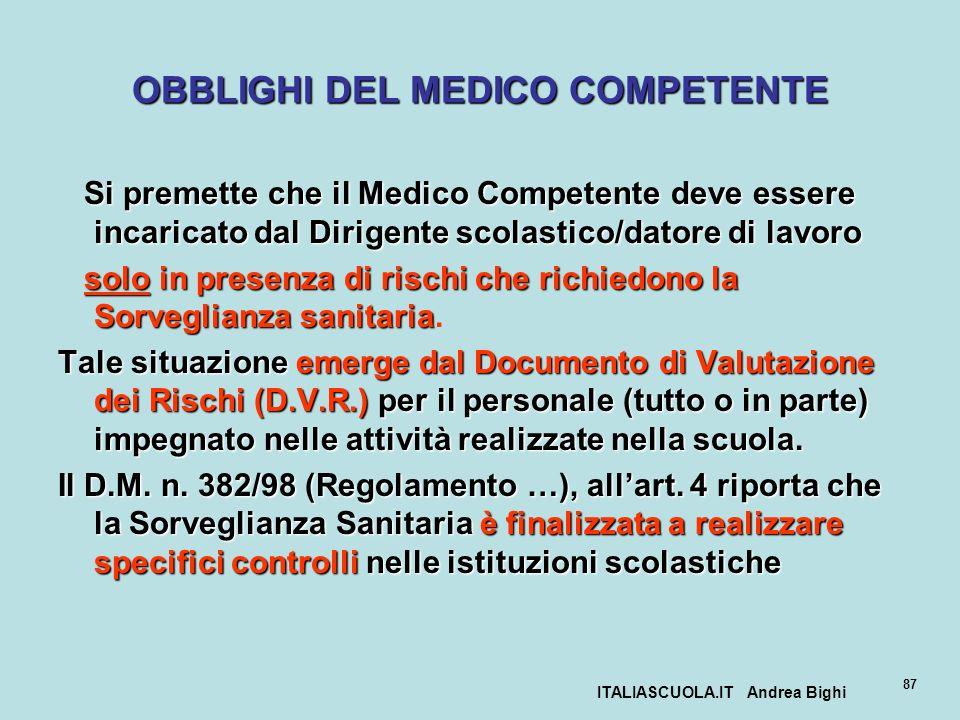 OBBLIGHI DEL MEDICO COMPETENTE