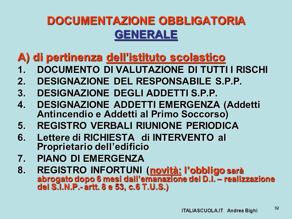 DOCUMENTAZIONE OBBLIGATORIA GENERALE