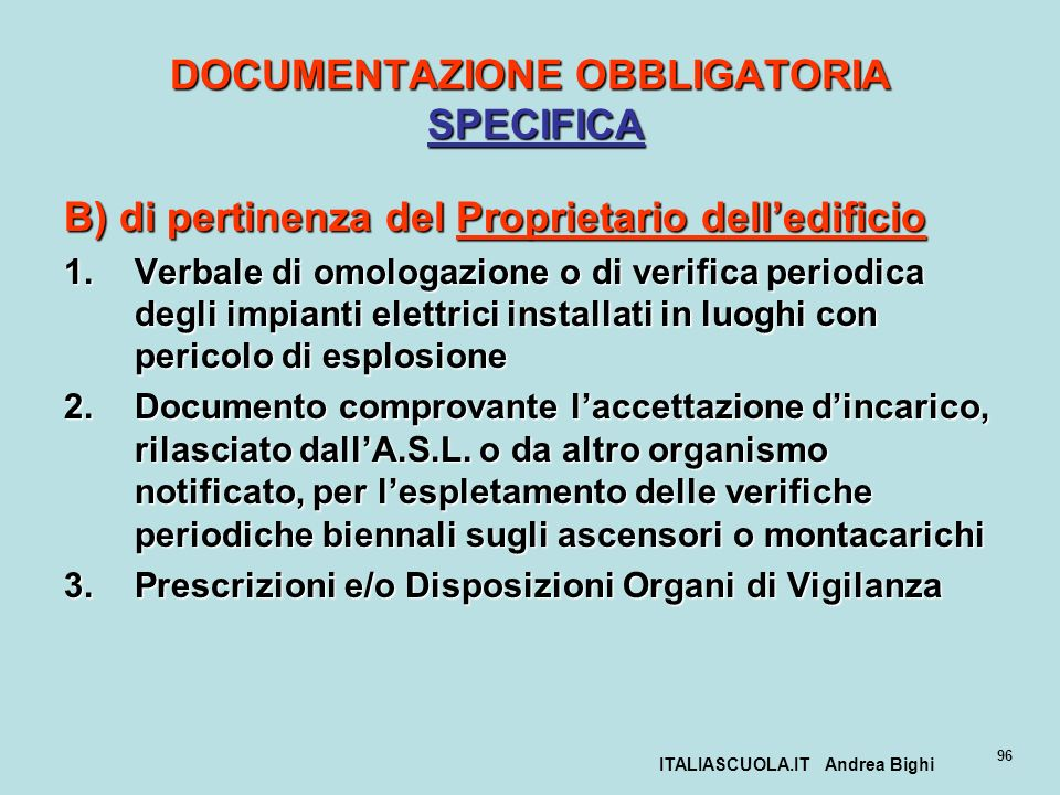 DOCUMENTAZIONE OBBLIGATORIA SPECIFICA
