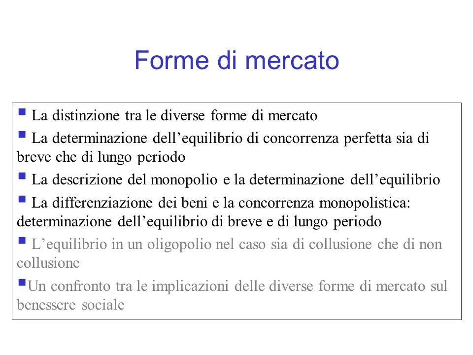 Forme di mercato La distinzione tra le diverse forme di mercato