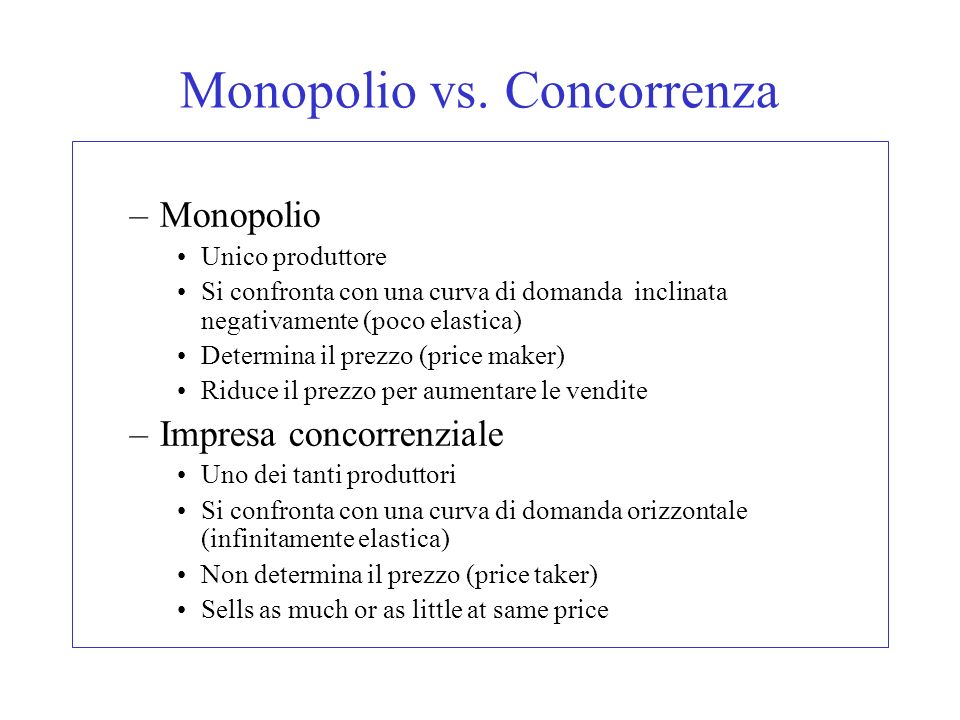 Monopolio vs. Concorrenza