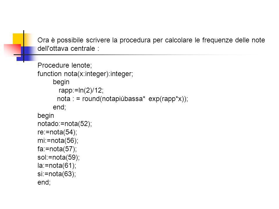 Ora è possibile scrivere la procedura per calcolare le frequenze delle note dell ottava centrale :