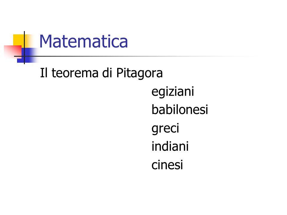 Matematica Il teorema di Pitagora egiziani babilonesi greci indiani
