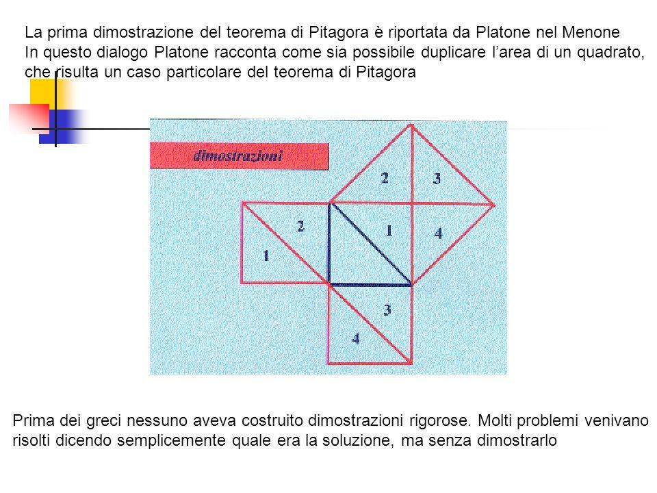 La prima dimostrazione del teorema di Pitagora è riportata da Platone nel Menone