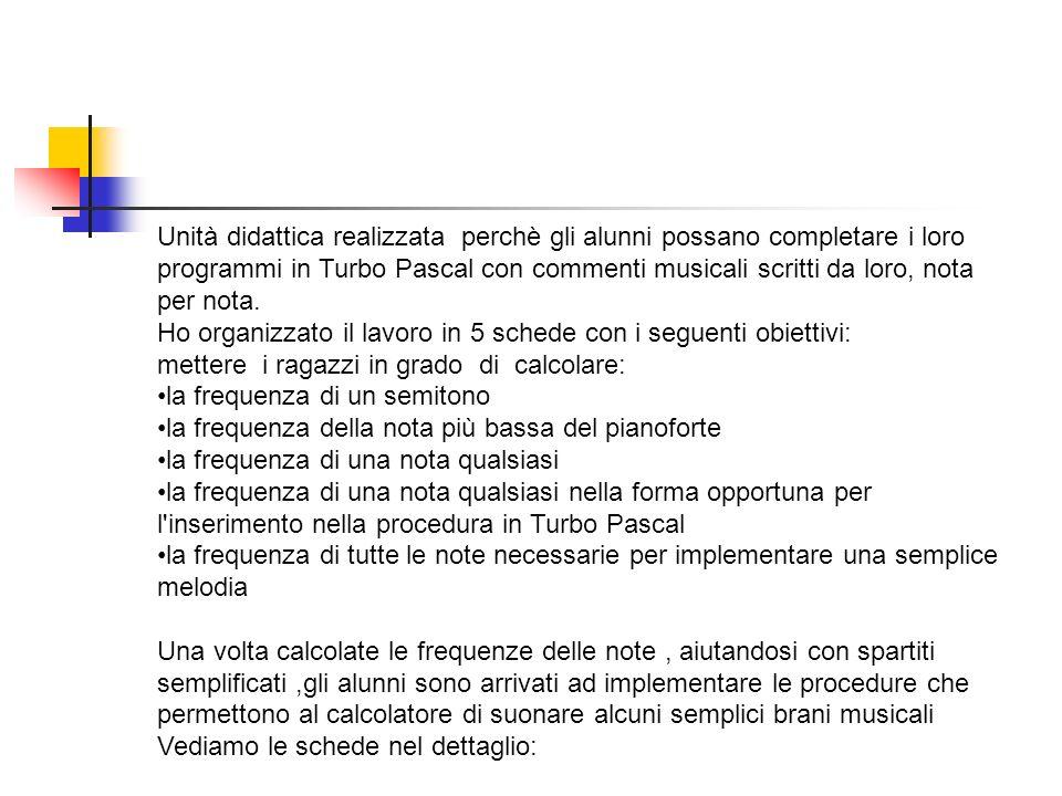 Unità didattica realizzata perchè gli alunni possano completare i loro programmi in Turbo Pascal con commenti musicali scritti da loro, nota per nota.