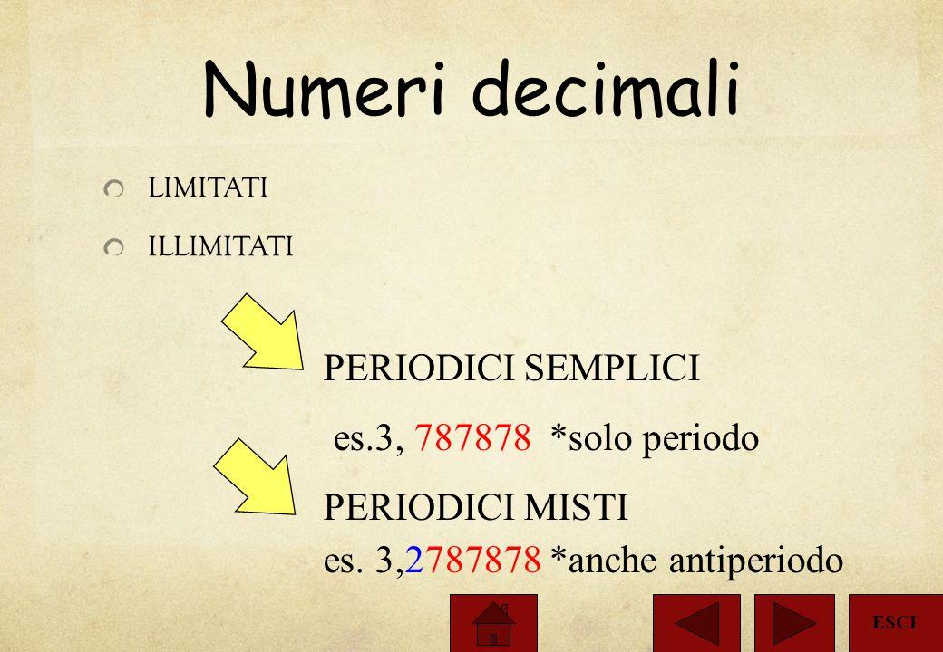 Numeri decimali PERIODICI SEMPLICI es.3, 787878 *solo periodo