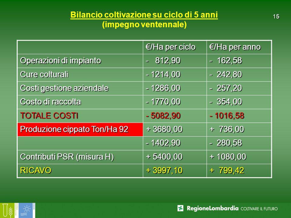 Bilancio coltivazione su ciclo di 5 anni (impegno ventennale)