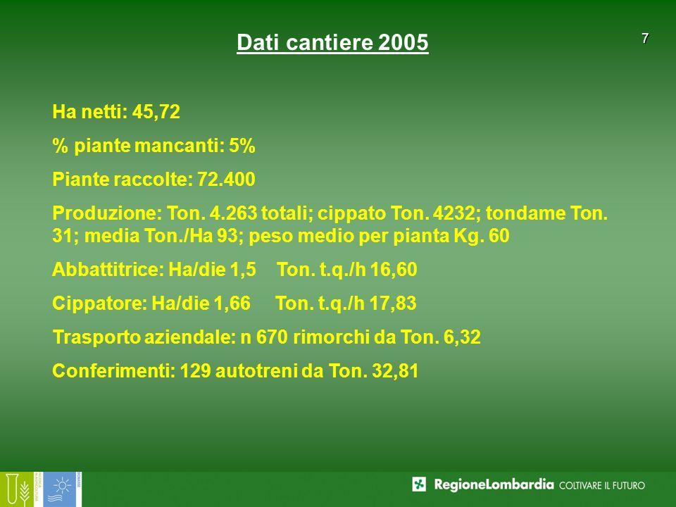 Dati cantiere 2005Ha netti: 45,72. % piante mancanti: 5% Piante raccolte: 72.400.