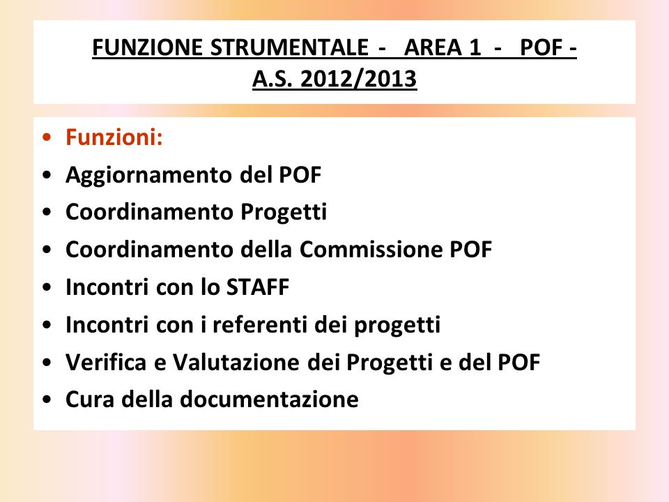 FUNZIONE STRUMENTALE - AREA 1 - POF - A.S. 2012/2013