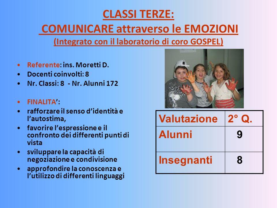 CLASSI TERZE: COMUNICARE attraverso le EMOZIONI (Integrato con il laboratorio di coro GOSPEL)