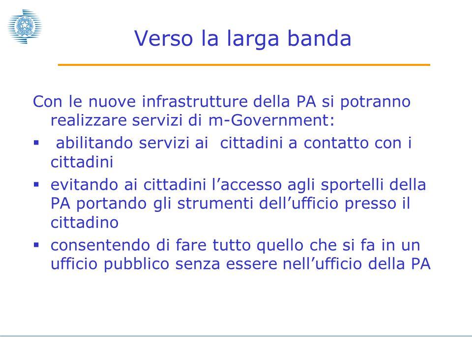 Verso la larga bandaCon le nuove infrastrutture della PA si potranno realizzare servizi di m-Government: