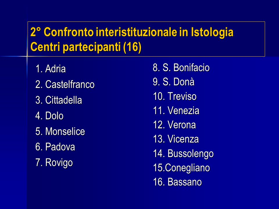 2° Confronto interistituzionale in Istologia Centri partecipanti (16)