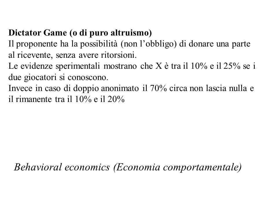 Behavioral economics (Economia comportamentale)