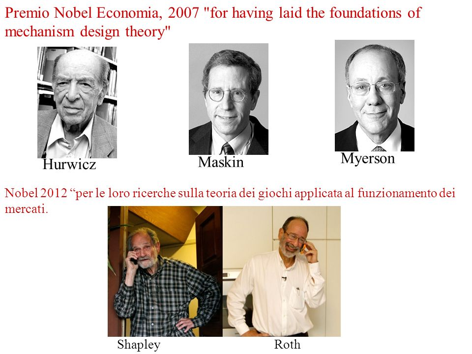 Premio Nobel Economia, 2007 for having laid the foundations of mechanism design theory