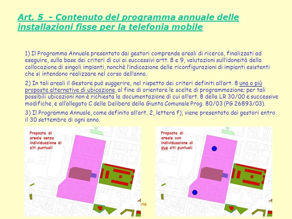 Art. 5 - Contenuto del programma annuale delle installazioni fisse per la telefonia mobile