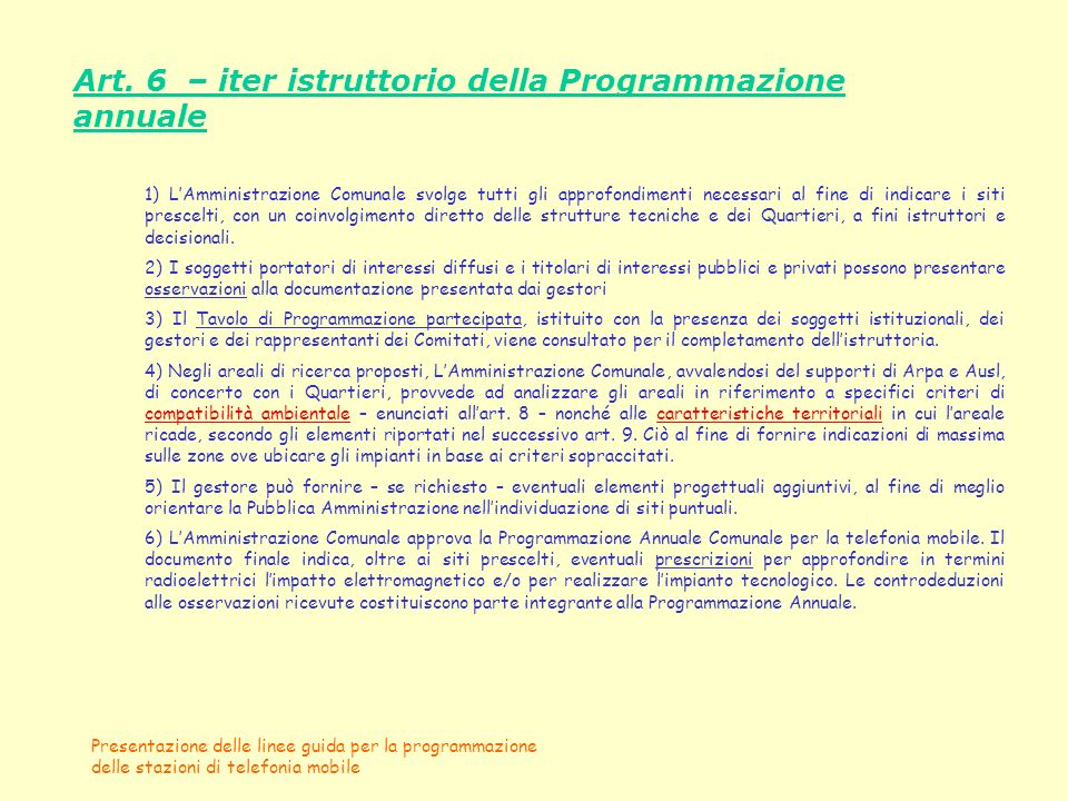 Art. 6 – iter istruttorio della Programmazione annuale