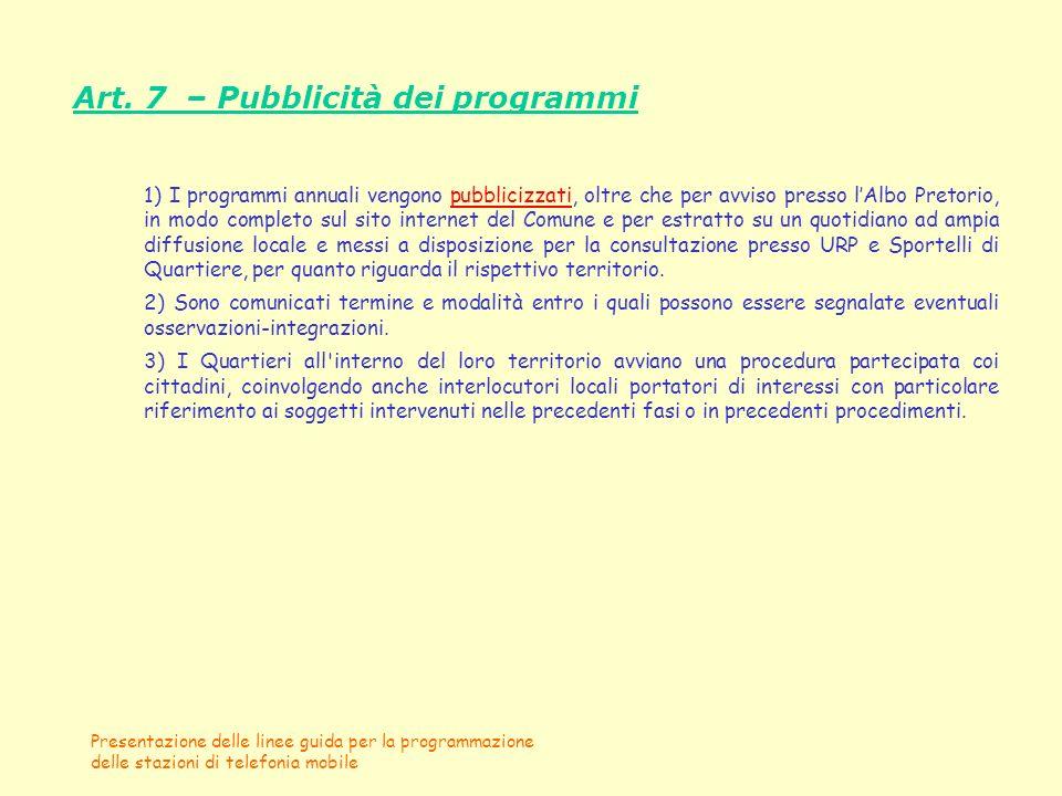Art. 7 – Pubblicità dei programmi
