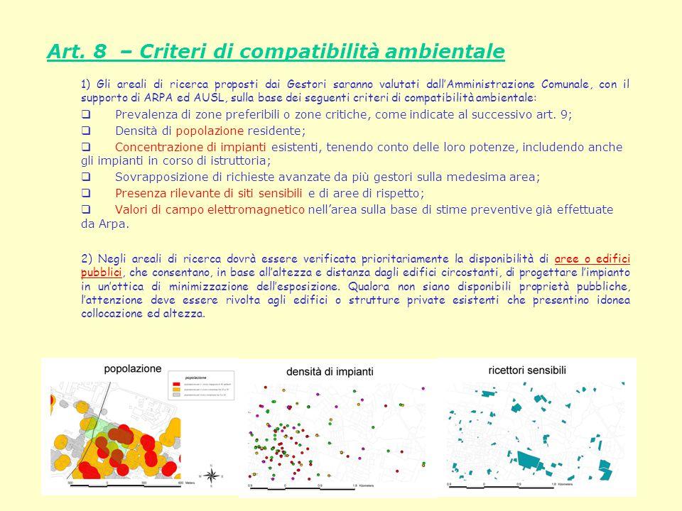 Art. 8 – Criteri di compatibilità ambientale