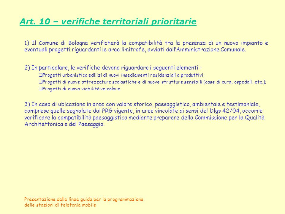 Art. 10 – verifiche territoriali prioritarie