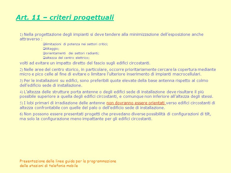 Art. 11 – criteri progettuali