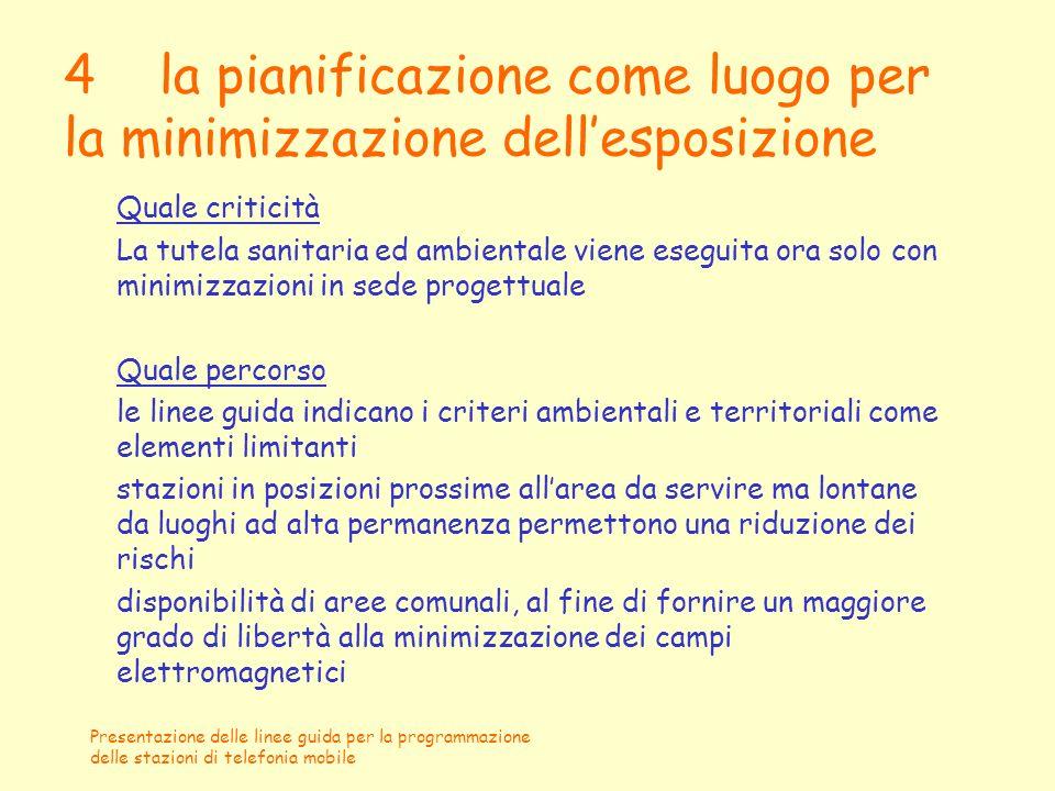 4 la pianificazione come luogo per la minimizzazione dell'esposizione