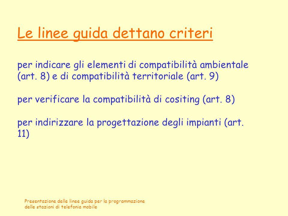 Le linee guida dettano criteri per indicare gli elementi di compatibilità ambientale (art. 8) e di compatibilità territoriale (art. 9) per verificare la compatibilità di cositing (art. 8) per indirizzare la progettazione degli impianti (art. 11)