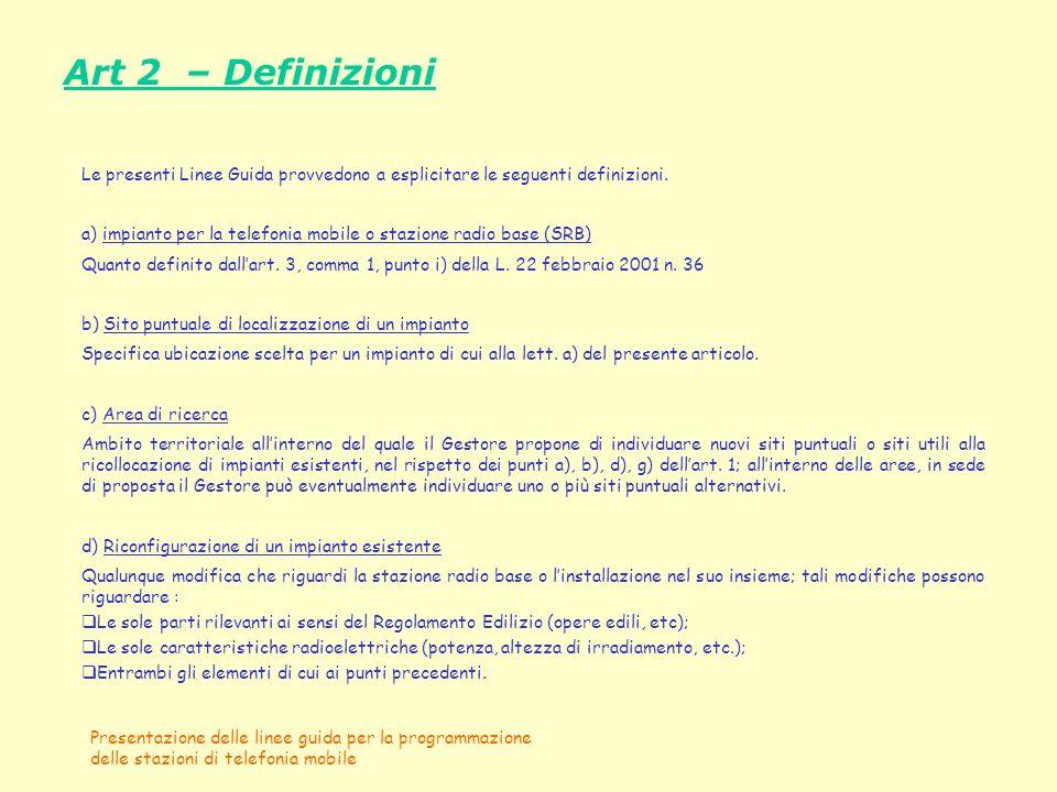 Art 2 – Definizioni Le presenti Linee Guida provvedono a esplicitare le seguenti definizioni.