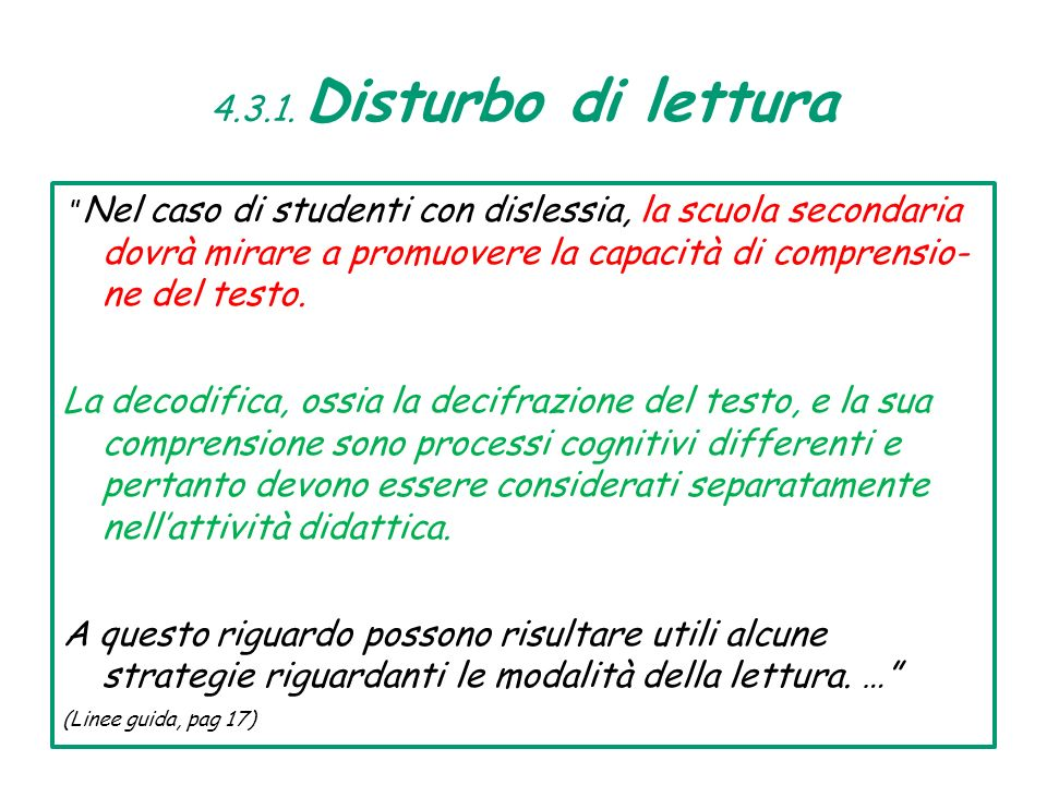 4.3.1. Disturbo di lettura