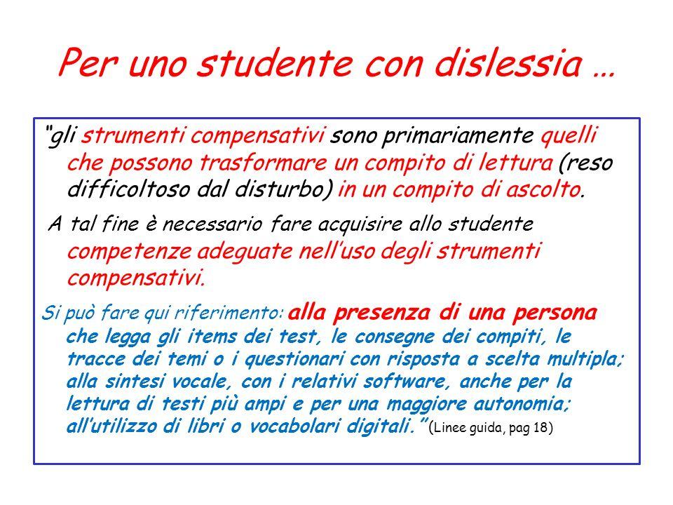Per uno studente con dislessia …