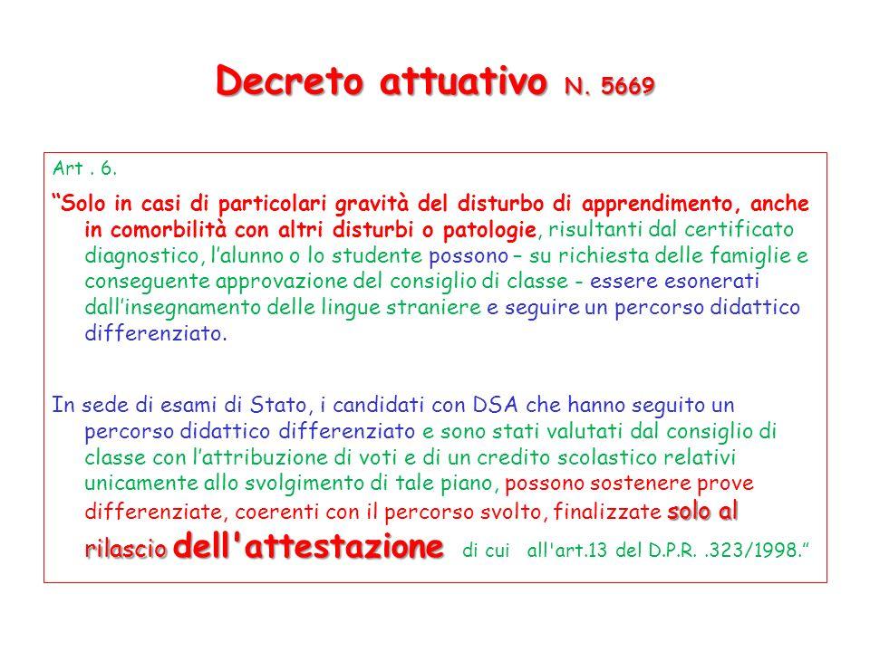 Decreto attuativo N. 5669 Art . 6.