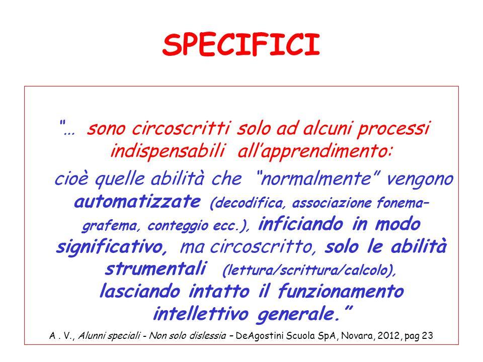 SPECIFICI … sono circoscritti solo ad alcuni processi indispensabili all'apprendimento:
