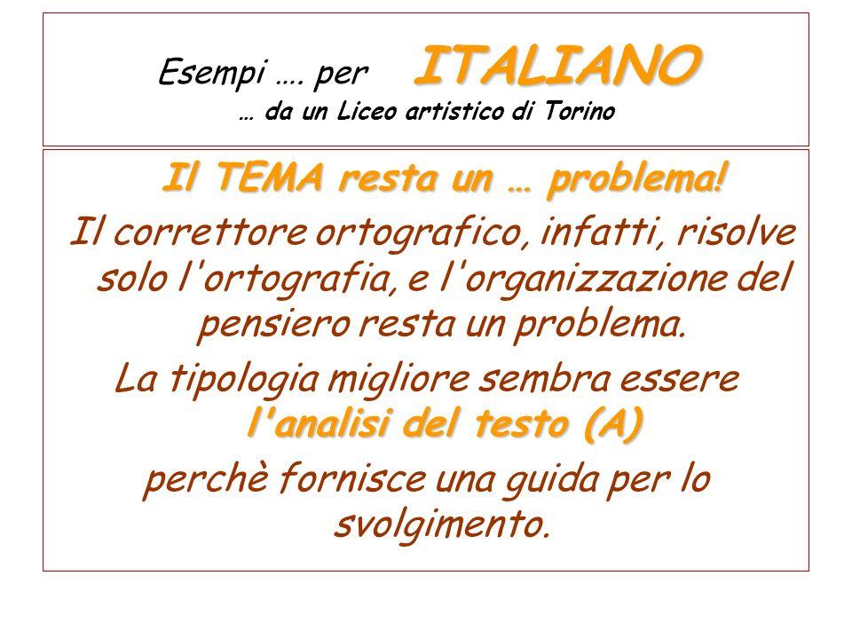 Esempi …. per ITALIANO … da un Liceo artistico di Torino