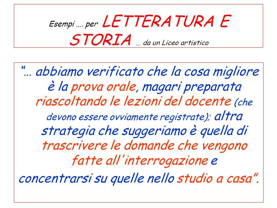 Esempi …. per LETTERATURA E STORIA … da un Liceo artistico