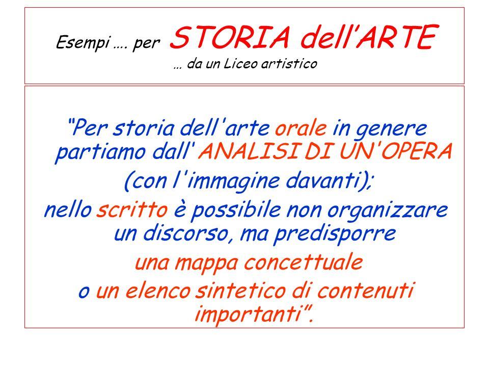 Esempi …. per STORIA dell'ARTE … da un Liceo artistico