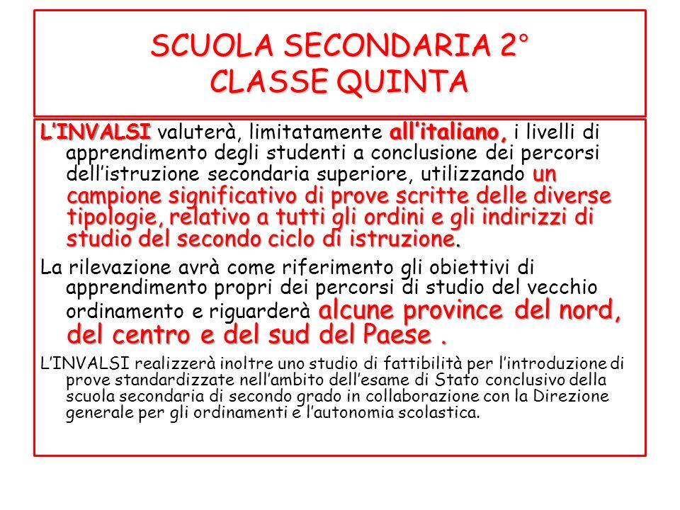 SCUOLA SECONDARIA 2° CLASSE QUINTA
