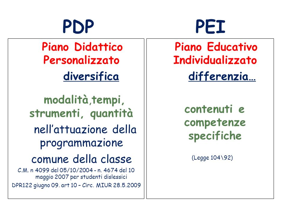 Piano Educativo Individualizzato contenuti e competenze specifiche