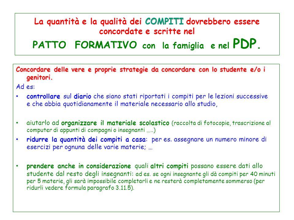 La quantità e la qualità dei COMPITI dovrebbero essere concordate e scritte nel PATTO FORMATIVO con la famiglia e nel PDP.