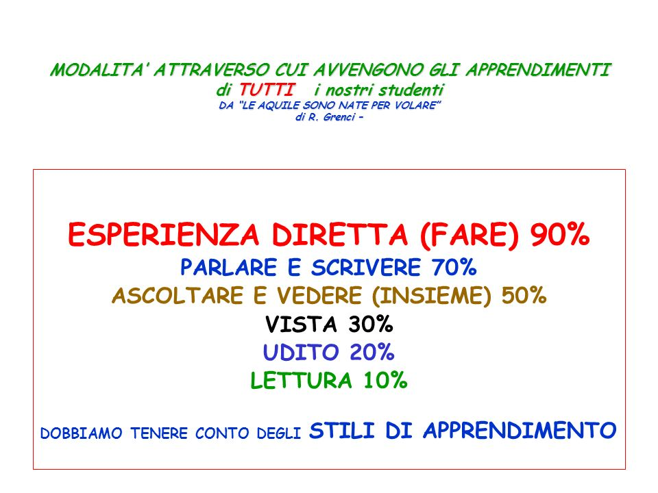 ESPERIENZA DIRETTA (FARE) 90%