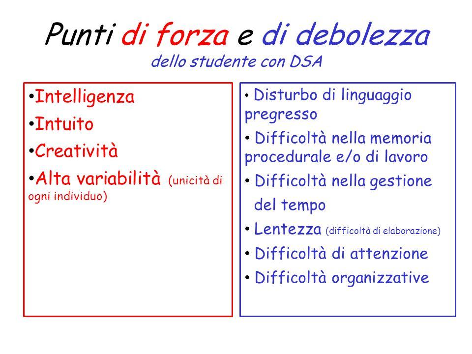 Punti di forza e di debolezza dello studente con DSA