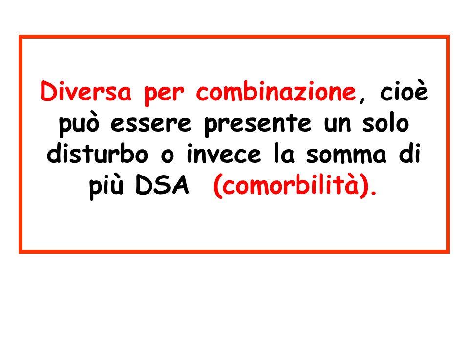 Diversa per combinazione, cioè può essere presente un solo disturbo o invece la somma di più DSA (comorbilità).