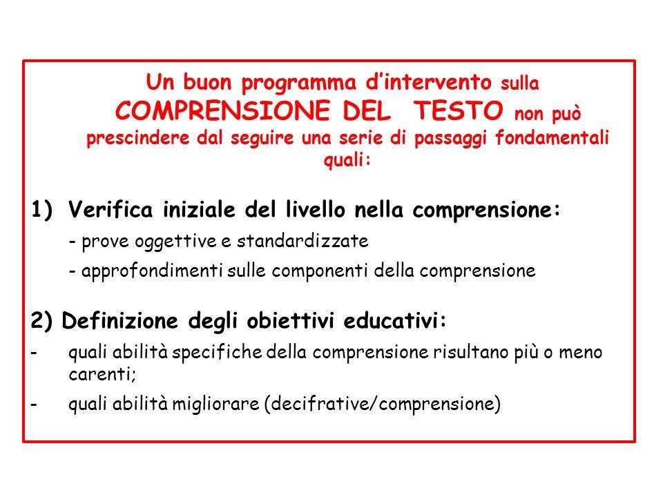 Un buon programma d'intervento sulla COMPRENSIONE DEL TESTO non può prescindere dal seguire una serie di passaggi fondamentali quali:
