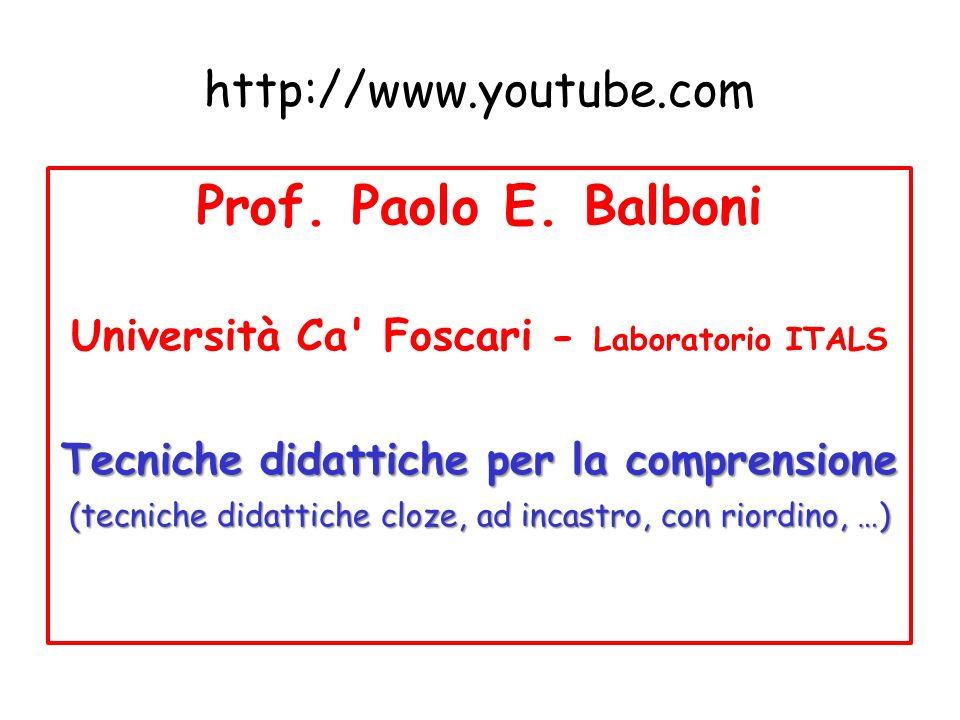 Prof. Paolo E. Balboni http://www.youtube.com