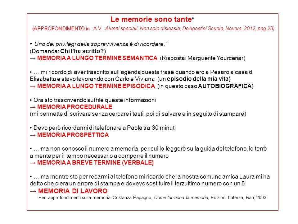 Le memorie sono tante (APPROFONDIMENTO in : A.V., Alunni speciali. Non solo dislessia, DeAgostini Scuola, Novara, 2012, pag.28)